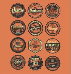 Premium quality retro badges collection red vector