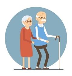 Senior Couple Walking vector image vector image