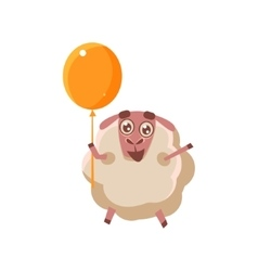 Sheep With Orange Balloon vector image vector image
