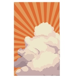 Sky sunset clouds shining light retro background vector