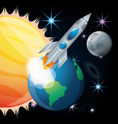 Sun and earth with moon and rocket vector