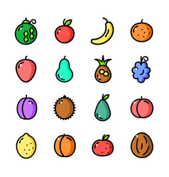 thin line fruits icons set vector image vector image
