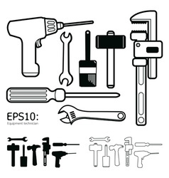 tools icon set white background vector image vector image
