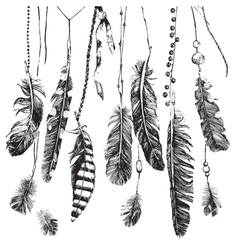 Tribal background with hand drawn feathers vector