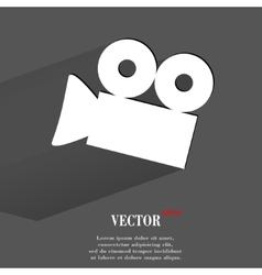 Video-camera Flat modern web button with long vector image