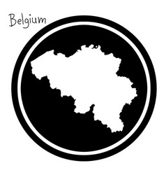 White map of belgium on black circle vector