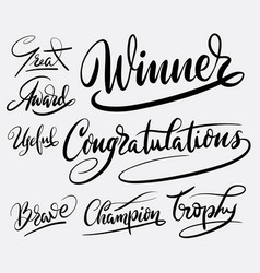 winner and congratulations hand written typography vector image