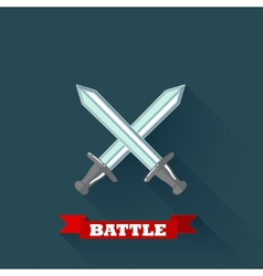 With crossing swords in flat design with long vector