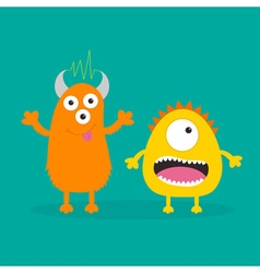 Yellow and orange monster with one eye teeth vector image