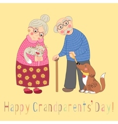 Happy grandparents day card poster with cute vector