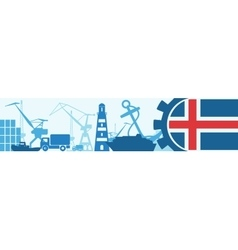 Cargo port Iceland flag in gear vector image
