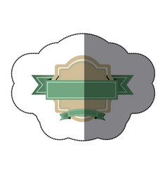 sticker realistc heraldic ornament with green vector image