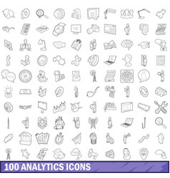 100 analytics icons set outline style vector image