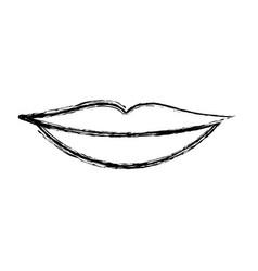 Monochrome blurred silhouette of sensual lips vector