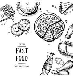 Fast food retro advertising card vector