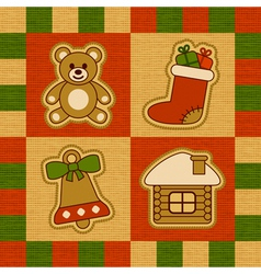 Christmas quilt vector image