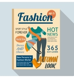 Fashion magazine with casual clothing vector