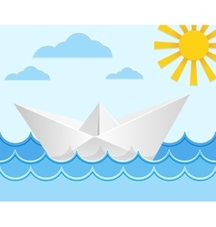 Origami paper ship on ocean waves vector