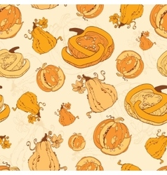 Autumn pumpkins harvest seamless pattern vector