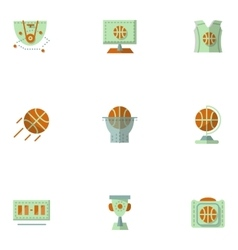 Flat simple icons for basketball vector