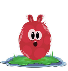 Funny round red surprised monster on the grass vector