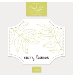 Product sticker with hand drawn curry leaves vector
