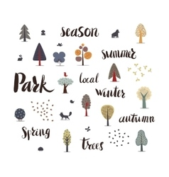 Forest trees with lettering vector image