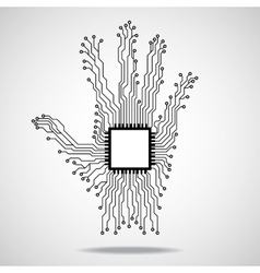 Hand cpu circuit board vector