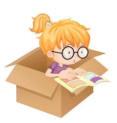 A girl reading book in a box vector image