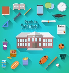 Back to School Flat design modern school building vector image