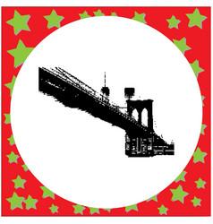 Black 8-bit brooklyn bridge vector