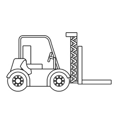 Black silhouette contour forklift truck with forks vector