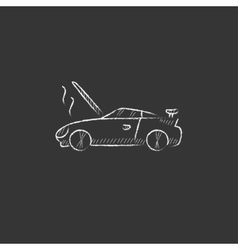 Broken car with open hood drawn in chalk icon vector