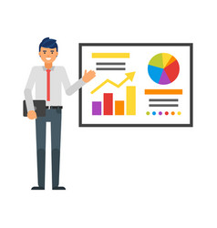 businessman showing infographic vector image