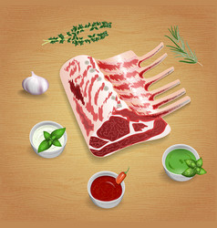 Crude organic lamb chops with herbs and sauces on vector