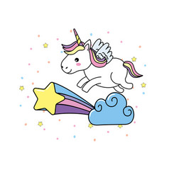 Cute unicorn with wings and cloud with star vector