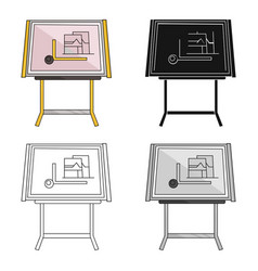 Drawing board icon in cartoon style isolated on vector