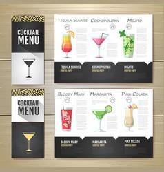 flat cocktail menu concept design vector image vector image