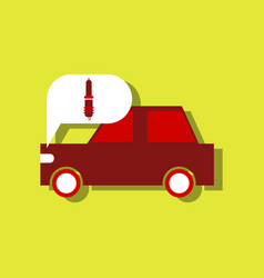 Flat icon design collection car and detail in vector