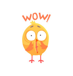 funny surprised cartoon comic chicken with phrase vector image vector image
