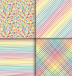 Geometric seamless patterns set in vintage rainbow vector image