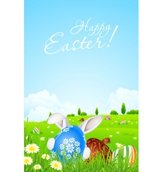 Green Landscape Background with Easter Eggs vector image vector image