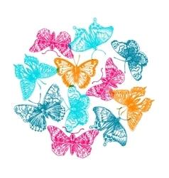 hand drawn butterflies vector image vector image