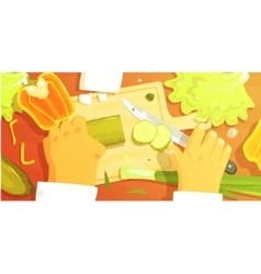 Hands cutting vegetbles colorful from vector