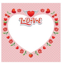 Heart Shape Frame and Border with Icons vector image vector image