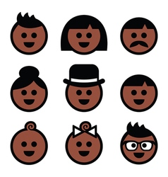 Human brown dark skin color icons set vector