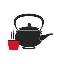 Japanese teapot teacup drink oriental image vector
