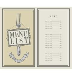 menu list vector image vector image
