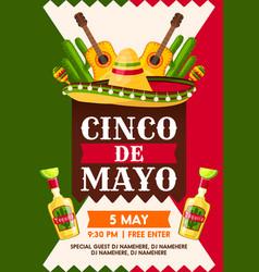 Mexican cinco de mayo holiday fiesta party banner vector
