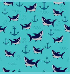 pattern with shark vector image vector image